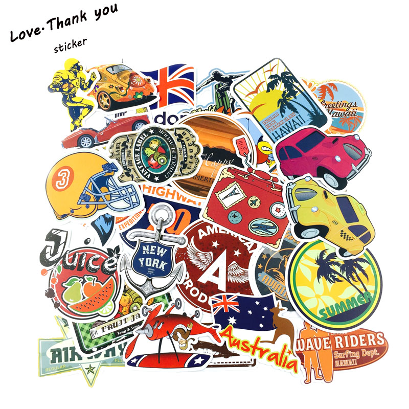 46Pcs Restore Outdoor Sport Travel Cartoon Style Sticker For Car Laptop Luggage Skateboard Backpack Tables Decal Kid Toy Sticker