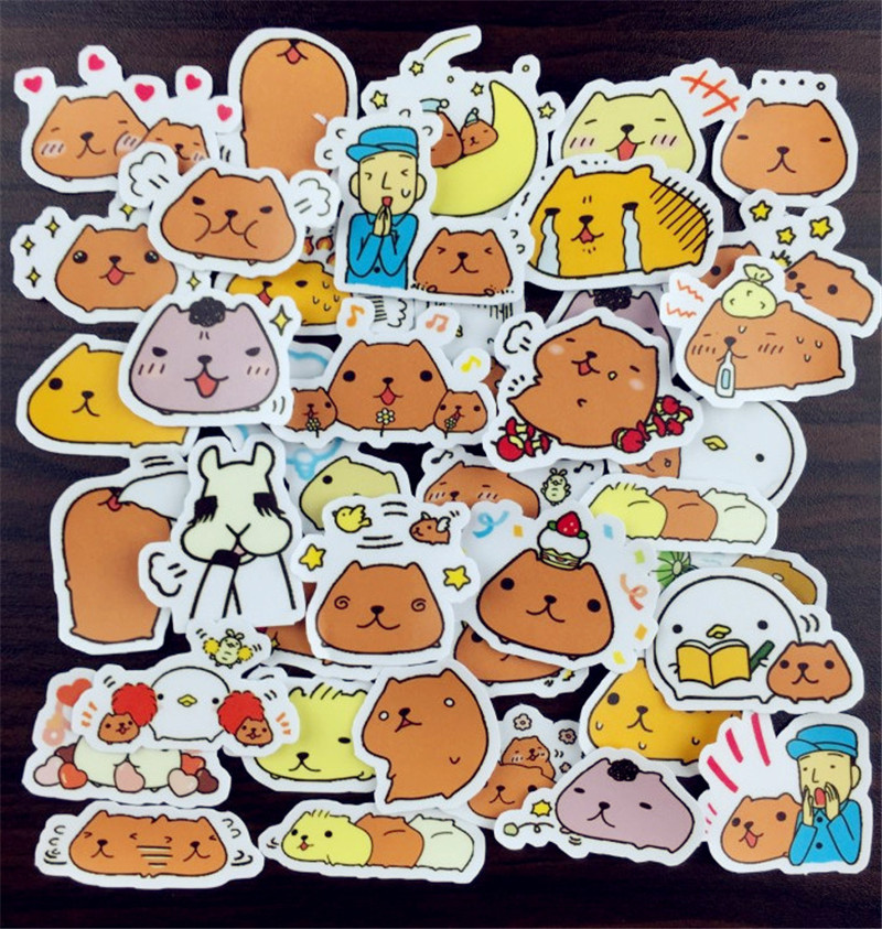 Hot Sale 40 Pcs Capybara Jungle Lion Dog Sticker Mixed Funny  Decals Luggage Laptop Car Styling /Eason Stickers/DIY Scrapbooking