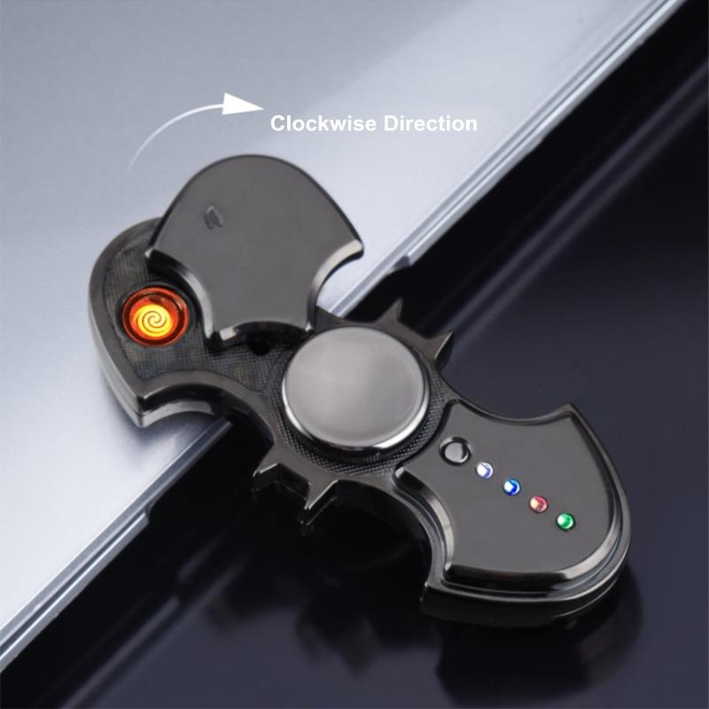 Batman Fidget Spinner USB Electronic Lighter 3 Varieties LED Lights Cigarette Lighter And Hand Spinner Toy Plasma Arc Lighter