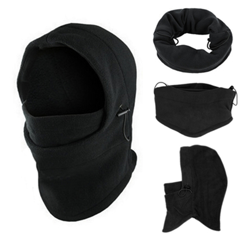 Fashion Black 6 In 1 Neck Balaclava Winter Face Hat Fleece Hood Ski Mask Warm Helmet Warmth Polar Fleece Fabric