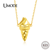 UMODE Hot Cute Ice Cream 925 Sterling Silver Necklace Women Gold Color Plated Silver 925 Jewelry