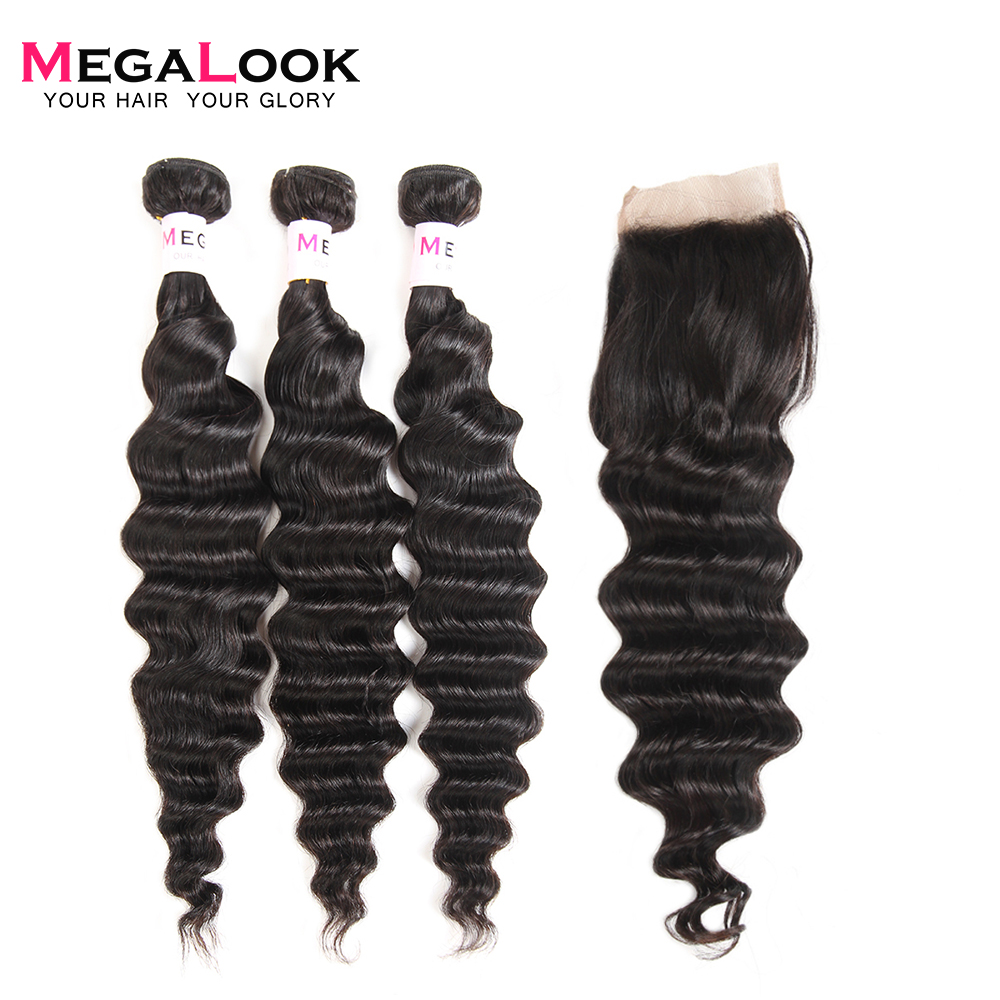 Megalook Malaysian Loose Deep Wave Bundles with Closure 3pcs 100 Human Hair with Lace Closure