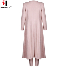 Winter Pink Long Sleeves Suede Fabric Chic Sexy Cocktail Party Women Three Piece Sets Pants Suits For Women Christmas New Year