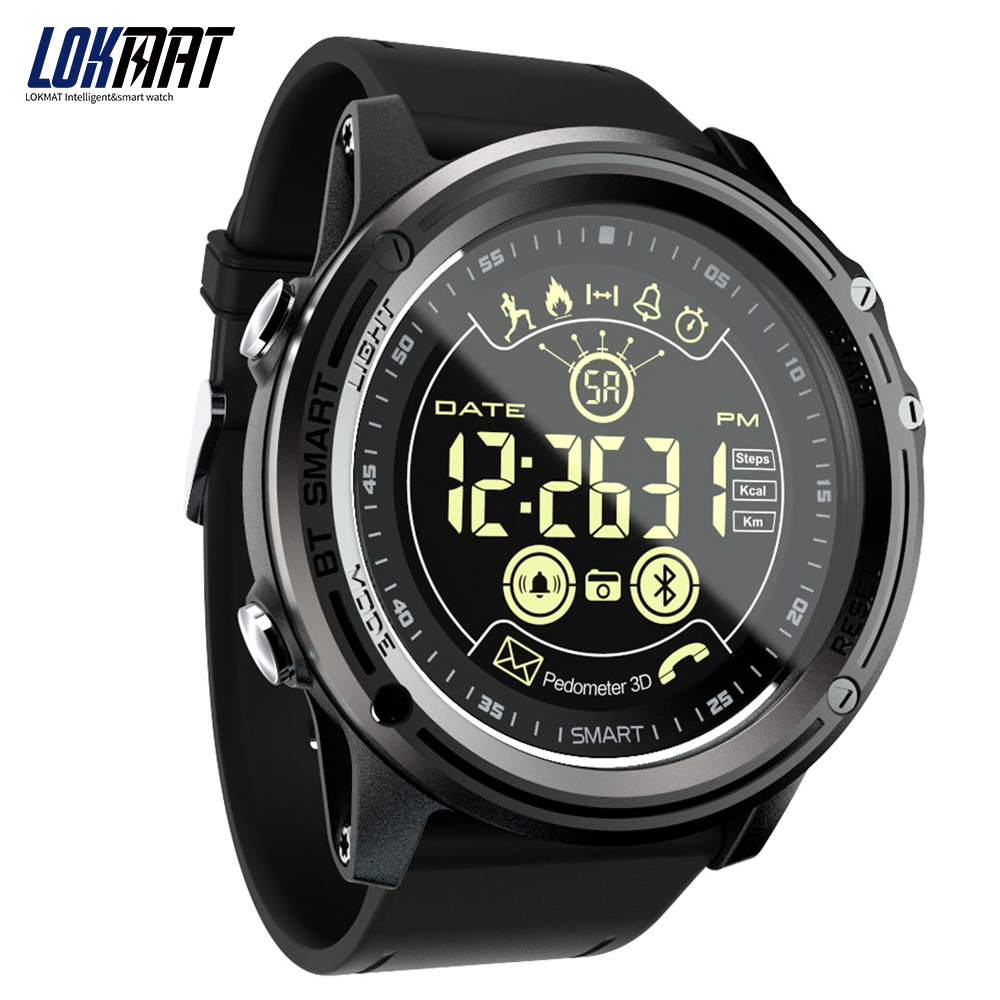 LOKMAT Smart Watch Sport Pedometer Waterproof IP68 Bluetooth Men Digital Clock Call Reminder SmartWatch For ios Android Phone