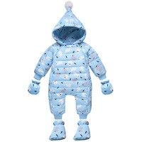 2018 חורף ברווז למטה Rompers תינוק בנות בני חליפת שלג סלעית יילוד סרבל בגדי ילד ילדי סרבל תינוקות הלבשה עליונה