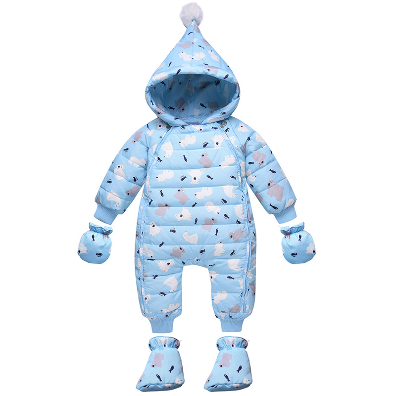 2018 Winter Duck Down Rompers Baby Girls Boys Snowsuit Hooded Newborn Overalls Clothes Kid Children Jumpsuit Infant Outerwear 2018 new baby rompers baby boys girls clothes turn down collar baby clothes jumpsuit long sleeve infant product solid color