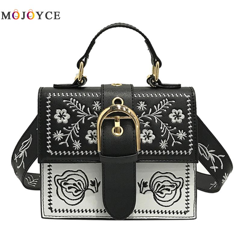 Korean Vintage Women Bags PU Leather Small Embroidery Women Shoulder Bags Small Flap Messenger Bags Ladies Handbags fabra fashion women messenger bags pu leather handbags korean style shoulder bag lady small casual shell crossbody flap bags