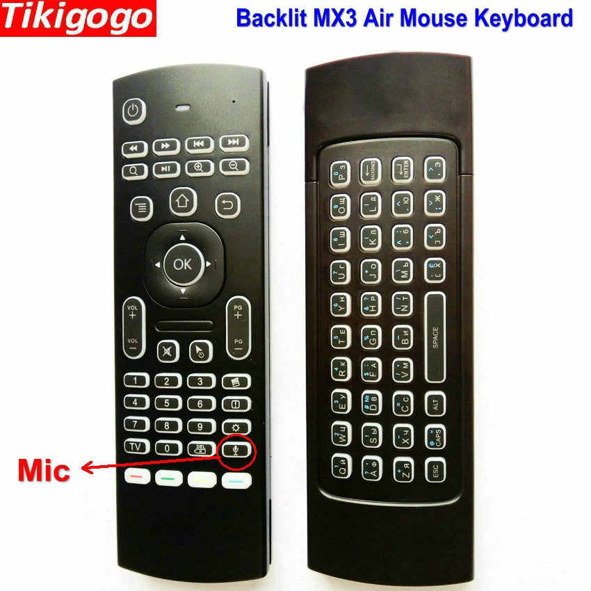 MX3 backlight Voice Air Mouse keyboard Russian English 5 IR Learning keys for Android Smart TV Box pc PK G30 G30s Remote Control