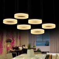 Чтение 3 9 шт. светодио дный кольцо лампы современный светодио дный полосы подвесные светильники для гостиной Обеденная бар светодио дный ко