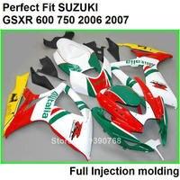 Дешевые Литой обтекатель комплект для SUZUKI GSXR600 K7 06 07 красный Белый и зеленый цвета черный обтекатели комплект GSXR600/750 2006 2007 iu74