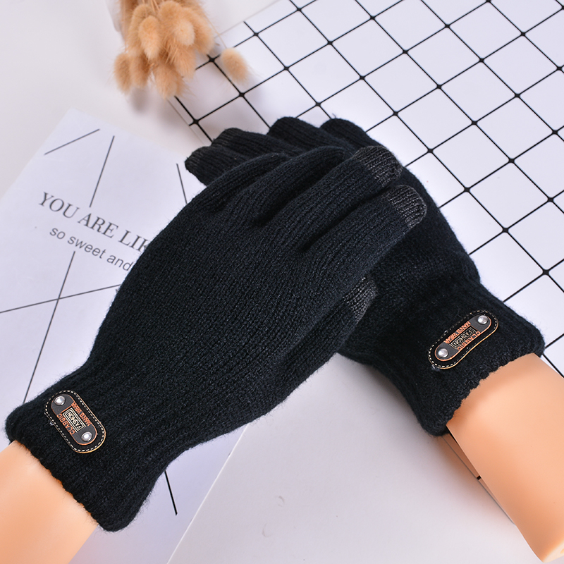 Winter Double Layer Thicken Warm Black Color Knitted Gloves Winter Touchscreen Full Fingers Gloves