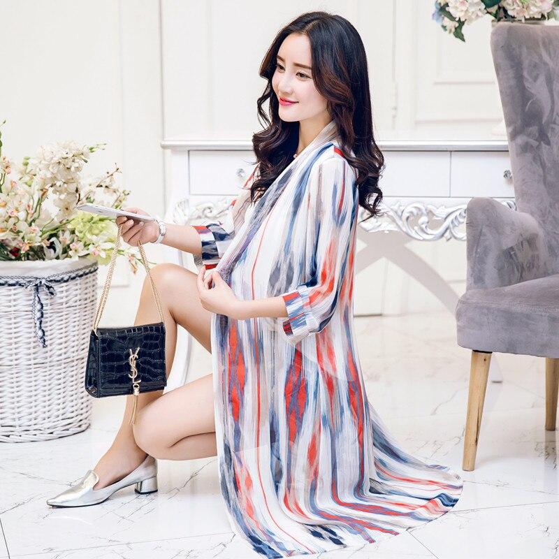 Women Blouses Summer 2018 Floral Blouse Casual Camisas Femininas Blusas  Kimono Cardigan Chiffon Women Tops Long Shirt YJZ015-in Blouses   Shirts  from ... 53c727098435