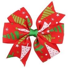 40 шт./лот, для маленьких девочек Рождество банты с заколками Бутик Grosgrain ленты лук детская лента для волос