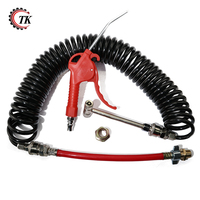 Heavy Duty Truck Air Duster Blow Gun Cleaning with 9 Meter Long Coil and 2 interchangeable nozzle tips Air Tank Blow Gun Kit