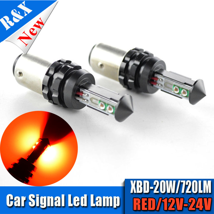 2x20W 1157 BAY15D P21/5W 4SMD XTE LED Auto Car Brake Tail Stop Light Lamp Bulbs 12-24V Red