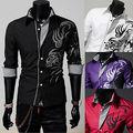 Новый Мужская Мода Роскошные Вскользь Тонкой Стильный Длинным Рукавом Рубашки Платья Печати