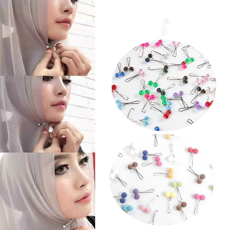 5pcs Nuovo Hijab Musulmano Sciarpa Spille Perla Clip di Sciarpa Spille Foulard Dello Scialle Della Sciarpa Della Signora Sciarpa Musulmana Pinze Regalo