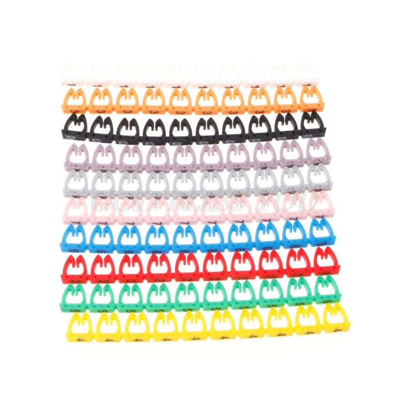 100PCS/Set Numeric Cable Label Mark Colorful Numeric Cable Label Mark For RJ45 RJ11 RJ12 Network Cable