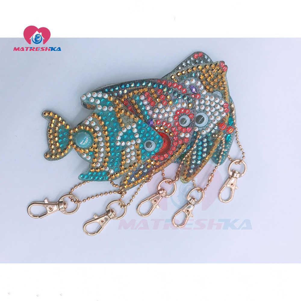 DIY Full รูปพิเศษเพชรภาพวาด Cupcake นกฮูก fish Keyring Keychain Cross Stitch เย็บปักถักร้อย lady กระเป๋า Key Chain collection