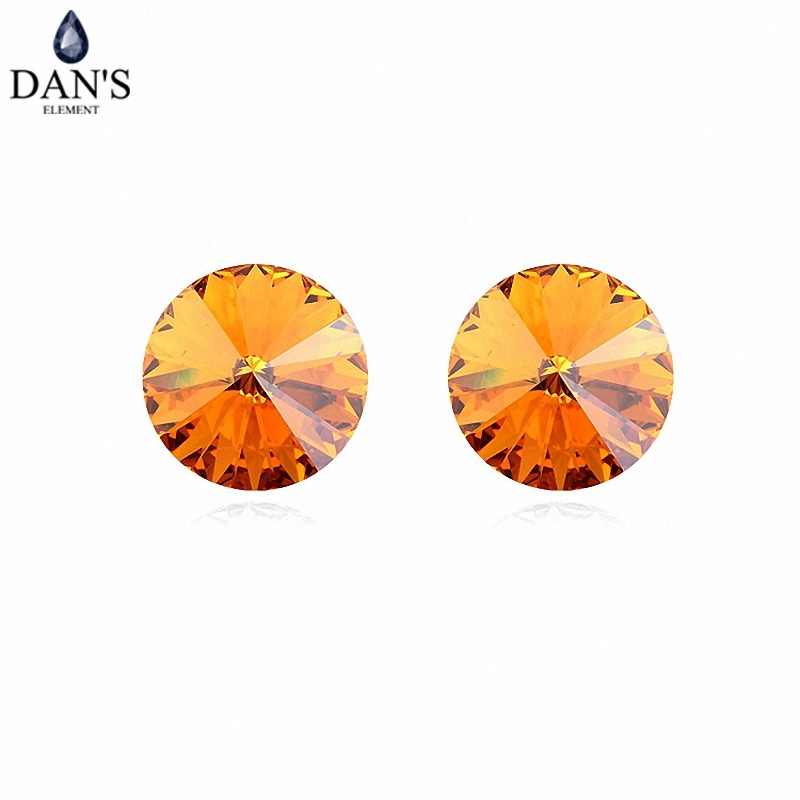 DANS 7 Colors Real Austrian crystals Stud earrings for women Earrings s New Sale Hot Round 96551yellow