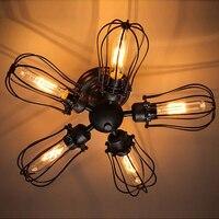 Retro Vintage Black 5 Lights Grapefruit Style Kitchen Ceiling Lights E27 Lamp Fixtures For Home Bedroom