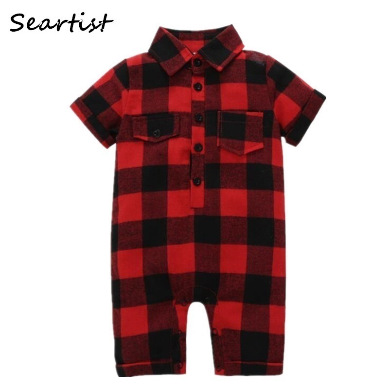 Seartist Baby Boys Girls Jumpsuit Summer 2018 New Red Plaid Short Sleeved Romper Body Suit Newborn Infant Bebes Clothes 40G