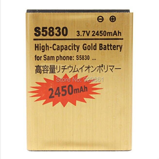 1 шт. S5830 2450 мАч оригинальный Высокое качество золото аккумулятор для Samsung Gio Pro S5830 <font><b>S5660</b></font> S5670 I579 I619 i569 s5830i S5838 S7500