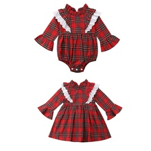 2019 Baby Girls Dress Kids Dresses Plaid Print Flare Sleeve / Baby Newborn Girls Plaid Print Jumpsuit plaid print pencil dress