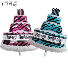 100*69ซม.ขนาดใหญ่เค้กวันเกิดฟอยล์บอลลูนHappy Birthday Partyอุปกรณ์ตกแต่งฝักบัวเด็กInflatable Helium Airลูก