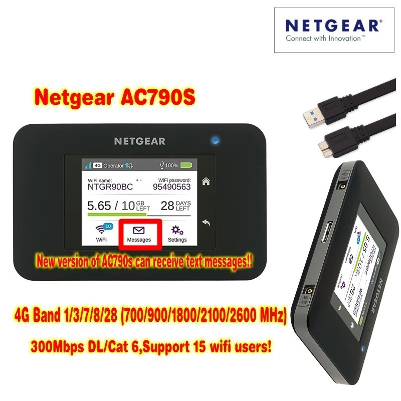 unlocked cat6 300mbps netgear 790s AC790S Aircard 4g lte mifi router dongle 4G LTE pocket wifi router plus 2pcs antenna aircard 790s ac790s 4g mobile hotspot lte cat6 portable wifi router