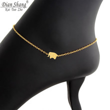 DIANSHANGKAITUOZHE Baby Animal Luck Origami Elephant Anklets Stainless Steel Jewelry 2017 Summer Gold Chain Enkelbandje Women