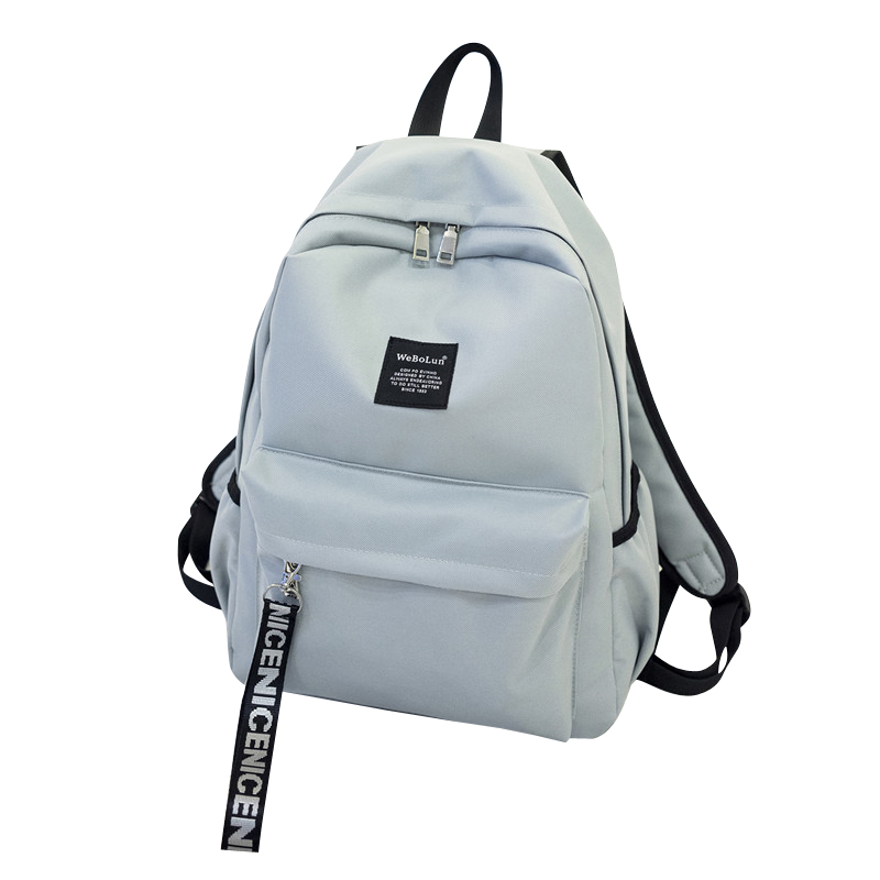 Sweet Color Students School Backpack Girl Simple Flight Portable Big Volume Double Bags Black