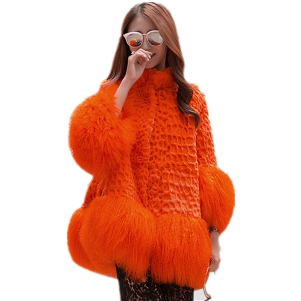 Rabbit Hem With naranja Lamb Taro Abrigo rose verde Real Invierno negro Piel Long Coat Jacket Moda rojo Wisstt Fur Mujeres Red Envío Gratis Natural De Purple wfpBxzE