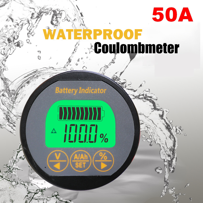 Waterproof 12V24V36V48V72V LCD Digital Coulombmeter Lithium iron phosphate Battery Capacity Tester 50A 100%new 50v 50a precise real capacity tester meter for lifepo4 lithium lipo liion battery