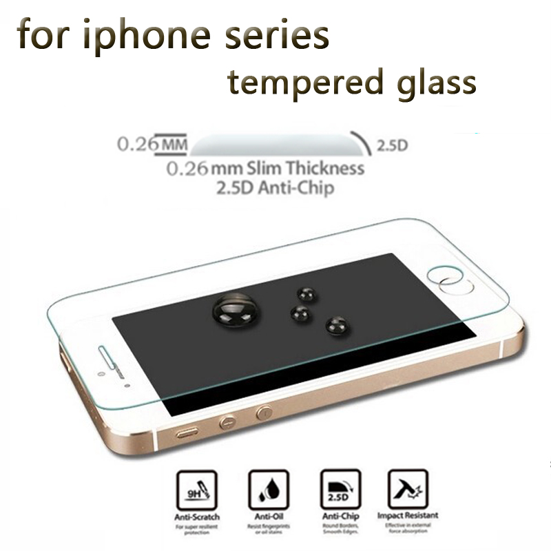 Tempered Glass For Iphone 5s Se 6 6s 7 8 Plus XS Max XR Glass For Iphone 7 8 X Flim For Iphone 6 6s Screen Protectors