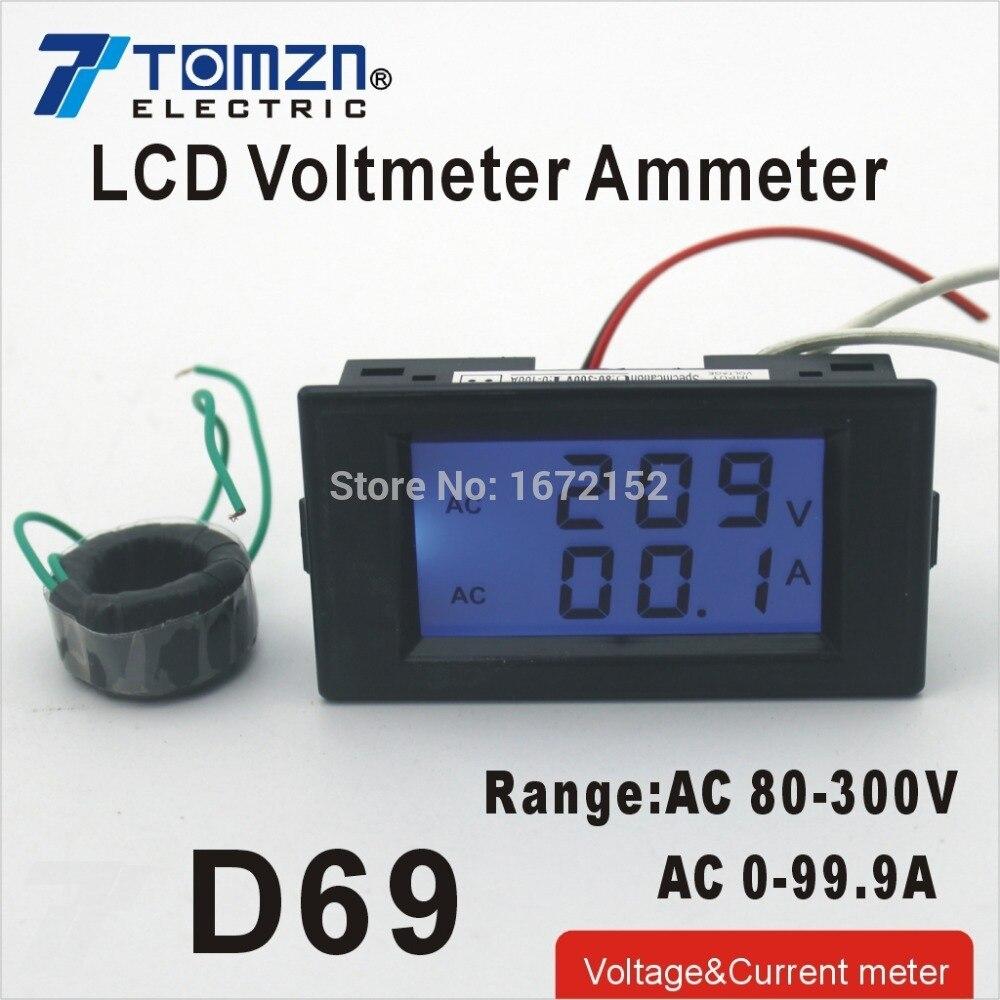 D69 Dual LCD display Voltage and current meter blue backlight panel voltmeter ammeter range AC 80-300V 0-99.9A Black