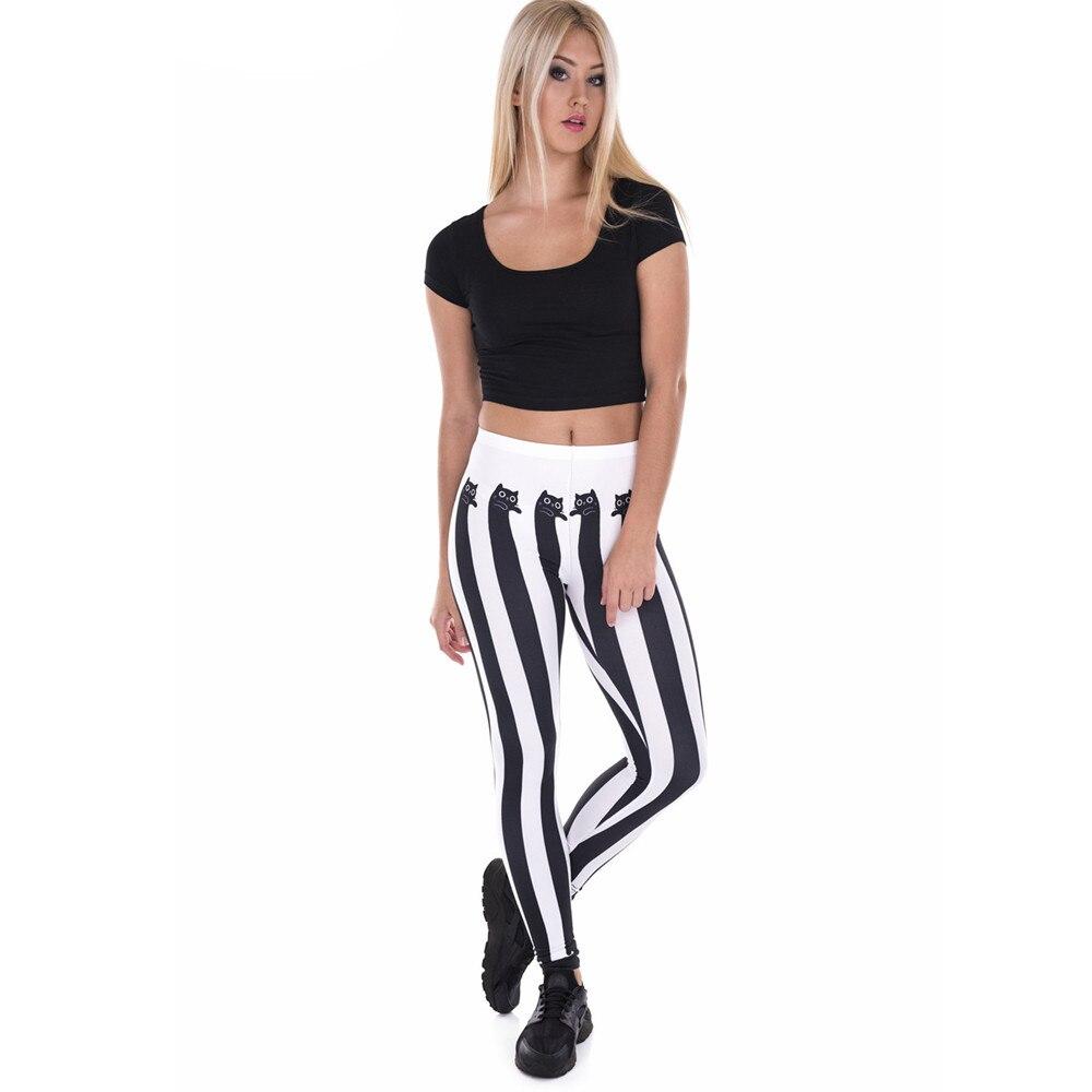 Fccexio New Style Women Leggings High Waist Fitness Legging Funnly Stripes Cats Print Leggins Female Pants Workout Slim Trousers