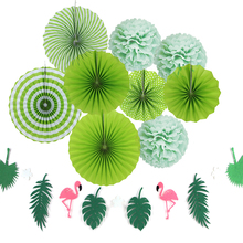 Party Decoration Set 10pcs Green Color With Flamingo Garlands Summer Tropical party Luau Beach Pool Hawaiian