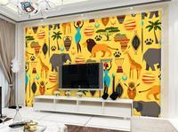 Tùy chỉnh hình ảnh 3d wallpaper kids room bức tranh tường Hoạt Hình Châu Phi mẫu dấu sơn HD của ảnh TV nền không dệt hình nền bức tranh tường