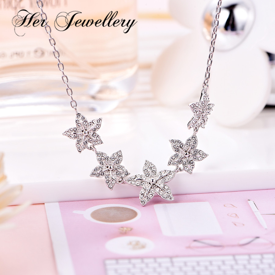 Her Jewellery necklace with crystal pentagram flower necklace 2019 women fashion jewelry Made with crystals from Swarovski P0706