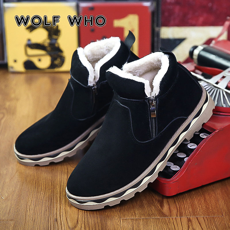 WOLF WHO 2018 Men Winter Warm Boots Casual Shoes Male Sneakers Fashion Plush Snow Boots Ankle Boots Fur Suede Man Footwear X-179 new casual mens cheap winter shoes keep warm with fur outdoor male snow shoes plush boots fashion men s suede leather sneakers