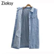 Zioksy Large size 5XL Denim Vests 2017 Summer Women Turn-down Collar Coat Sleeveless Long  Denim Jacket veste femme