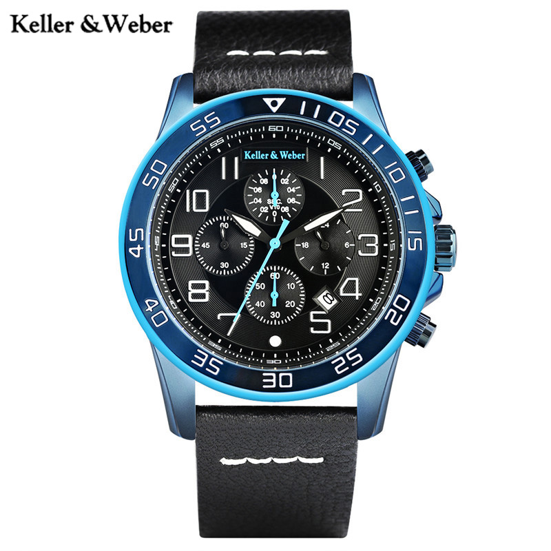 Keller & Weber New Arrival KW Men Quartz Sport Watch Genuine Leather Watchband Chronograph Date Military Outdoor Watches Male рубашка gerry weber gerry weber ge002ewwra96