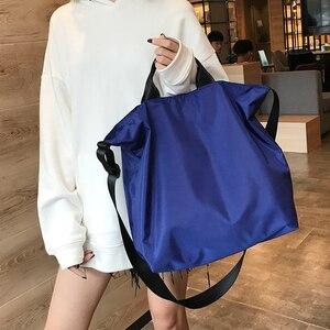 Image 2 - نايلون حقائب النساء الرجال حقيبة تسوق s قابلة لإعادة الاستخدام حقيبة تسوق اللون أسود أزرق