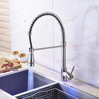 Nickel Brushed Kitchen Sink Faucet Deck Mounted Bathroom Kitchen Mixer Water Taps LED Color Changing