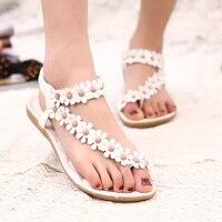 Beading 2015 Flat Sandals For Women Ankle Strap Summer Shoes Women Sandals Flip Flop Ladies Sandals
