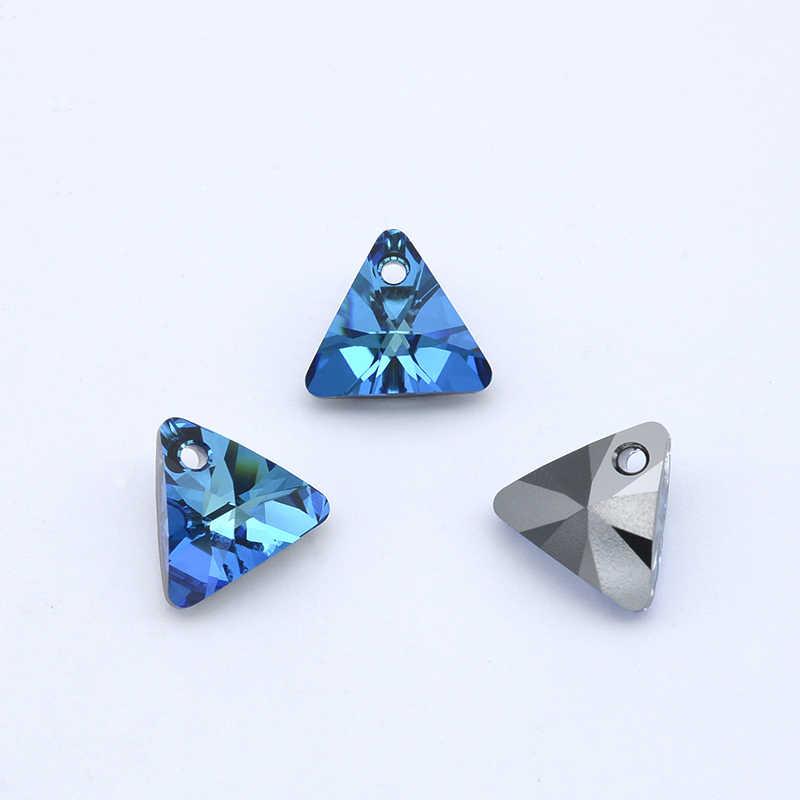 (1 pieza) 100% CRISTAL DE Swarovski Original 6628 colgante triangular XILION de Austria cuentas de diamantes de imitación para hacer joyas DIY