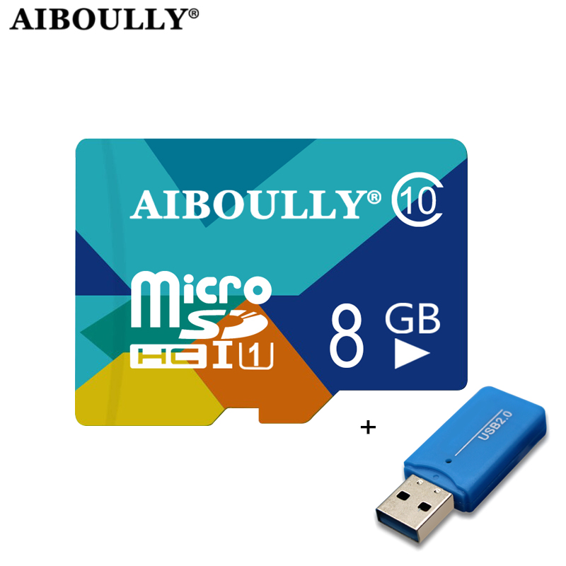 AIBOULLY Colorful TF Microsd Memory Card 8GB 4GB Micro SD Card Reader For SmartPhone Tablet PC