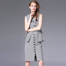 2016 Fall Winter Runway Women's Set High Quality Sleeveless Single Breasted Vest and Pencil Skirt Set 2 Piece Office Work Outfit