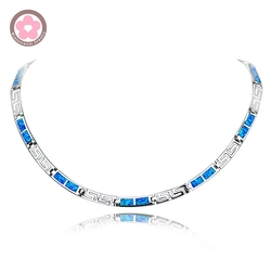 JZN0010  Top Quality Precious Blue Opal Gem Silver Necklace New Trendy Necklace for Women Fine Jewelry Chain Necklace Unisex